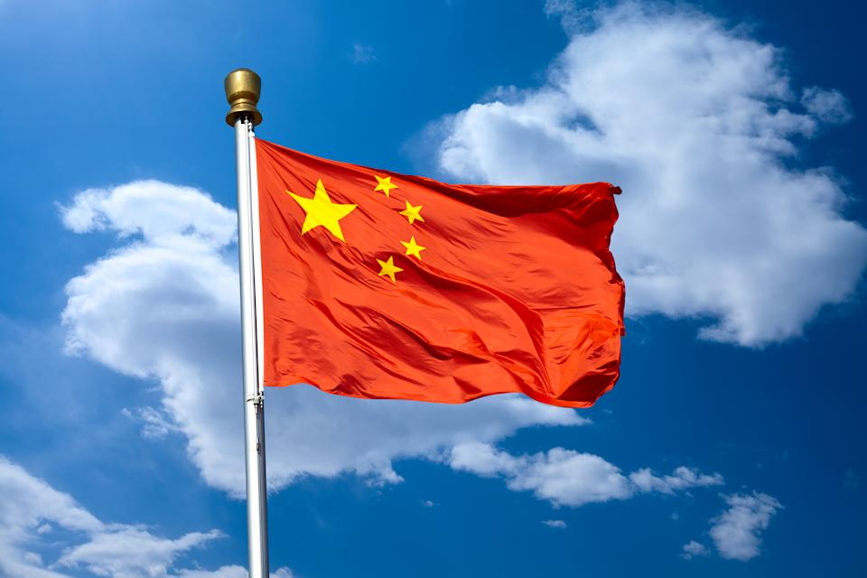 Chinese flag in beijing tiananmen square