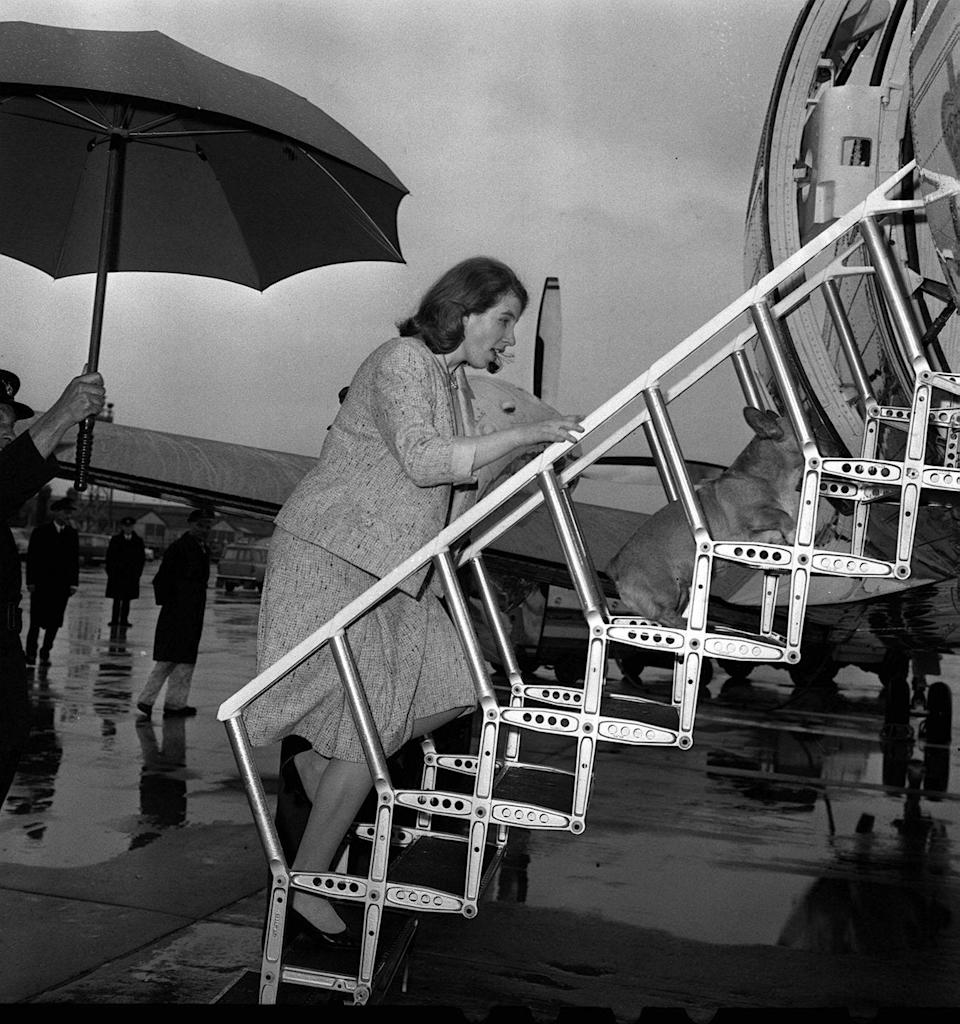 "<p>Helping one of her mother's corgis board an aircraft to Sandringham in 1966. The Princess had recently <a href=""https://www.nytimes.com/1966/04/28/archives/princess-anne-breaks-nose-in-fall.html"" rel=""nofollow noopener"" target=""_blank"" data-ylk=""slk:recovered from a broken nose"" class=""link rapid-noclick-resp"">recovered from a broken nose</a> from a riding accident. </p>"