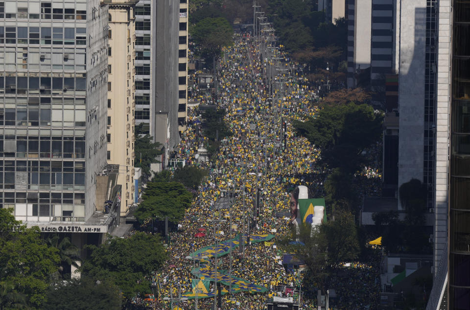 Supporters of Brazilian President Jair Bolsonaro gather at Paulista Avenue on Independence Day in Sao Paulo, Brazil, Tuesday, Sept. 7, 2021. (AP Photo/Andre Penner)