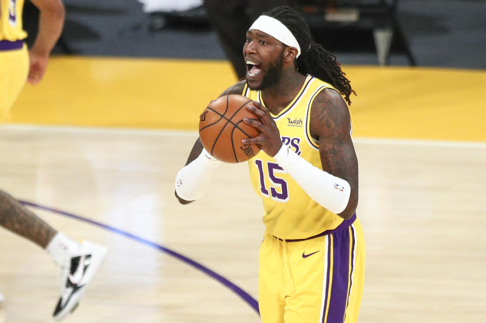 LOS ANGELES, CALIFORNIA - FEBRUARY 20: Montrezl Harrell #15 of the Los Angeles Lakers handles the ball during the game against the Miami Heat at Staples Center on February 20, 2021 in Los Angeles, California. NOTE TO USER: User expressly acknowledges and agrees that, by downloading and or using this photograph, User is consenting to the terms and conditions of the Getty Images License Agreement. (Photo by Meg Oliphant/Getty Images)