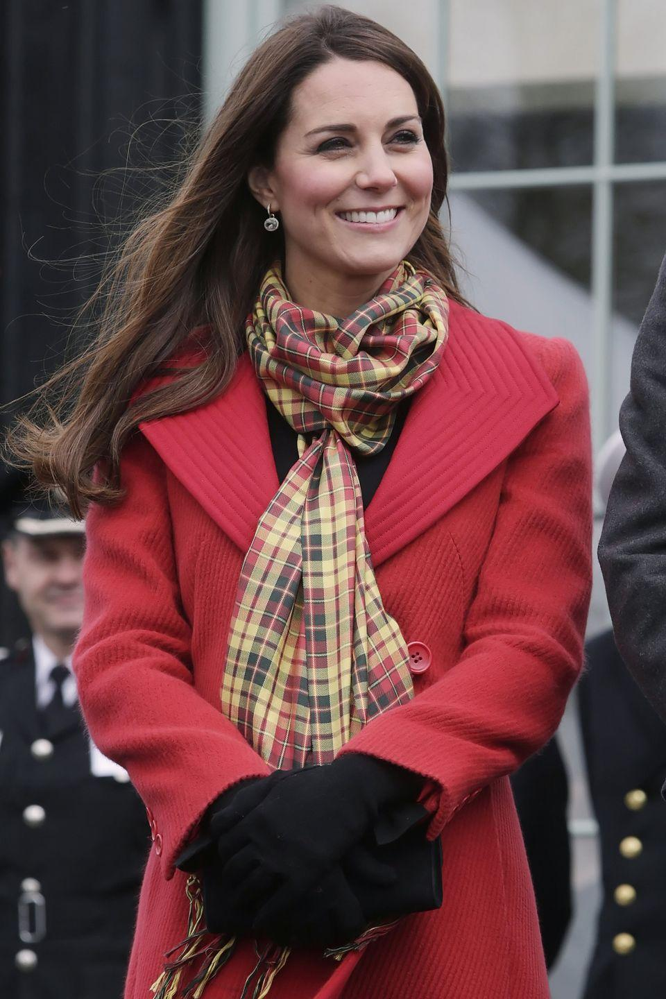 <p>Will and Kate also have their own tartan. Since their Scottish titles are the Earl and Countess of Strathearn, Kate has accessorized several outfits with this yellow and red Strathearn tartan scarf.</p>