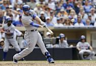New York Mets pinch hitter Andrew Brown drives a double to the center field fence to bring in Omar Quintanilla in the seventh inning of a baseball game against the San Diego Padres, Sunday, Aug. 18, 2013, in San Diego. (AP Photo/Lenny Ignelzi)
