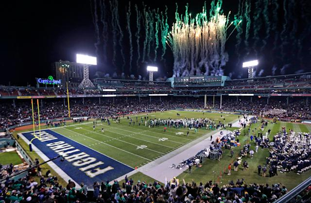 Notre Dame played Boston College at Fenway Park in 2015. (AP Photo/Charles Krupa)