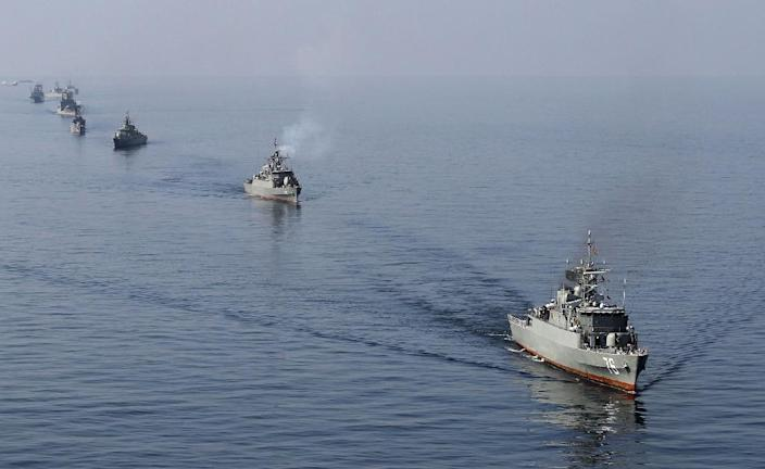 An Iranian Navy boat during exercises in the Strait of Hormuz in 2012 (AFP Photo/Ebrahim Noroozi)