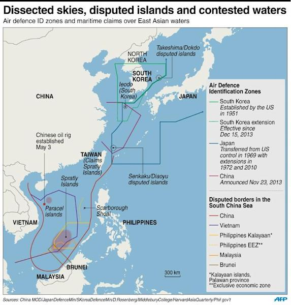 Graphic on contested air zones and sea borders in the Asian region