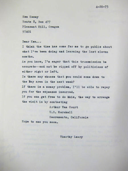 This photo provided by the New York Public Library shows Timothy Leary's April 20, 1975, letter to friend Ken Kesey, written from inside California State Prison in Folsom, where Leary was serving time on drug charges. Leary saved thousands of documents, correspondence and writings relating to his scientific research into psychedelic drugs in the 1960s, much of it never published but now available to scholars and the public at the New York Public Library, which purchased the collection in 2011 from the Leary estate. (AP Photo/File, New York Public Library, Manuscripts and Archives Division)