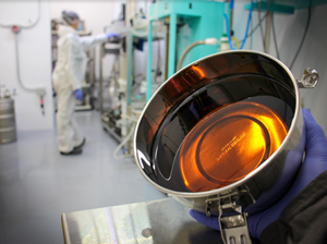 Metal vessel filled with distillate oil in the Company's extraction facility. Distillate oils can be incorporated into CPG products, and the Company is currently pursuing supplier relationships with CPG manufacturers.