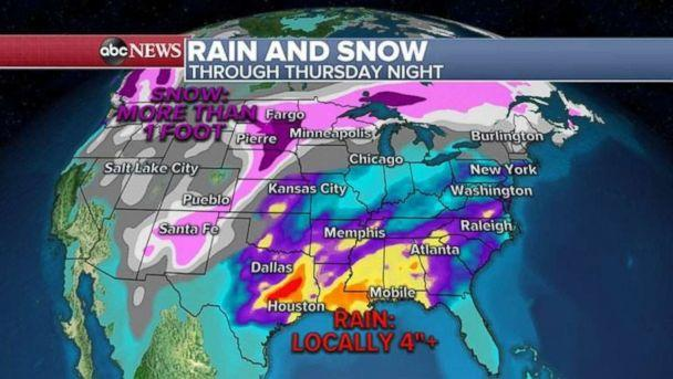 PHOTO: Rainfall totals could be over 4 inches along the Gulf Coast with over a foot of snow in the Dakotas. (ABC News)