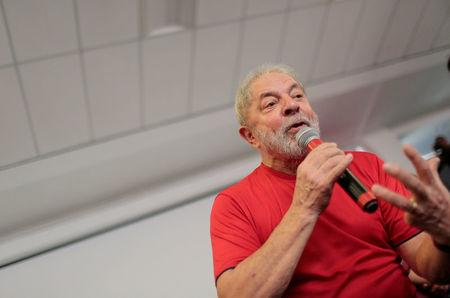 Former Brazilian President Luiz Inacio Lula da Silva speaks at the metallurgical trade union while the Brazilian court decides on his appeal against a corruption conviction that could bar him from running in the 2018 presidential race, in Sao Bernardo do Campo, Brazil January 24, 2018. REUTERS/Leonardo Benassatto