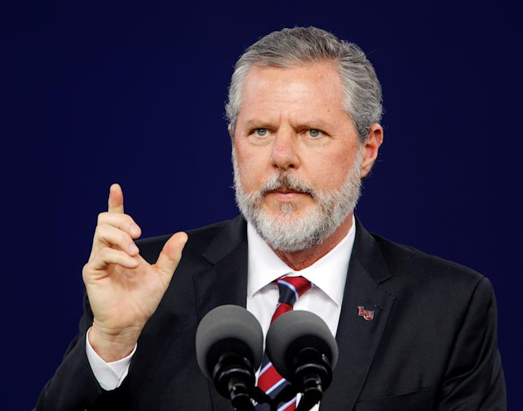 Liberty University President Jerry Falwell Jr. speaks during the school's commencement ceremonies in Lynchburg, Virginia, U.S., May 11, 2019.  REUTERS/Jonathan Drake