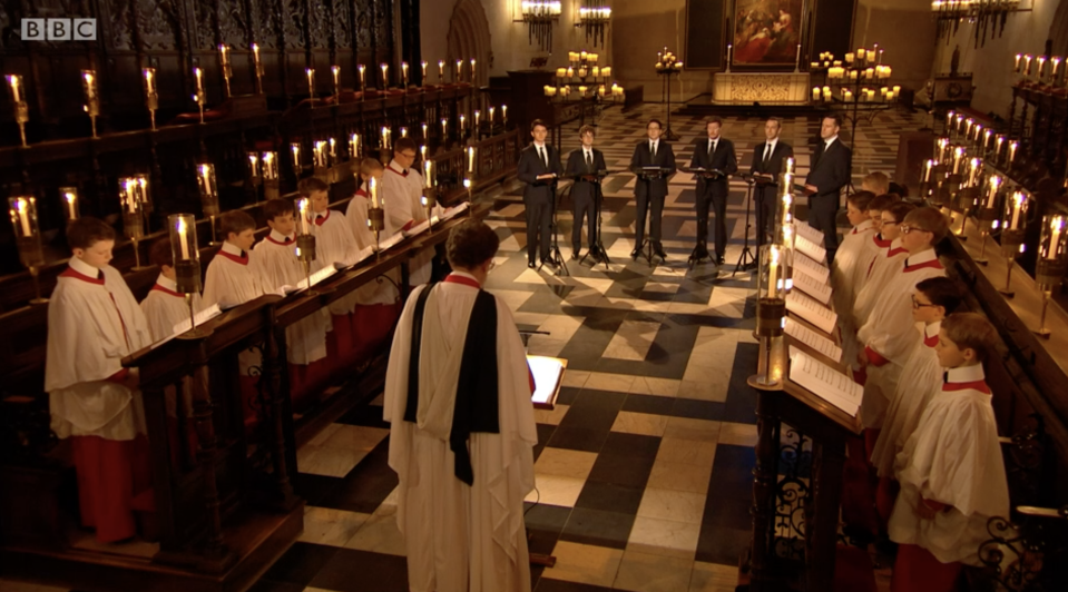The choir performed inside an empty church on Christmas Eve. (BBC)