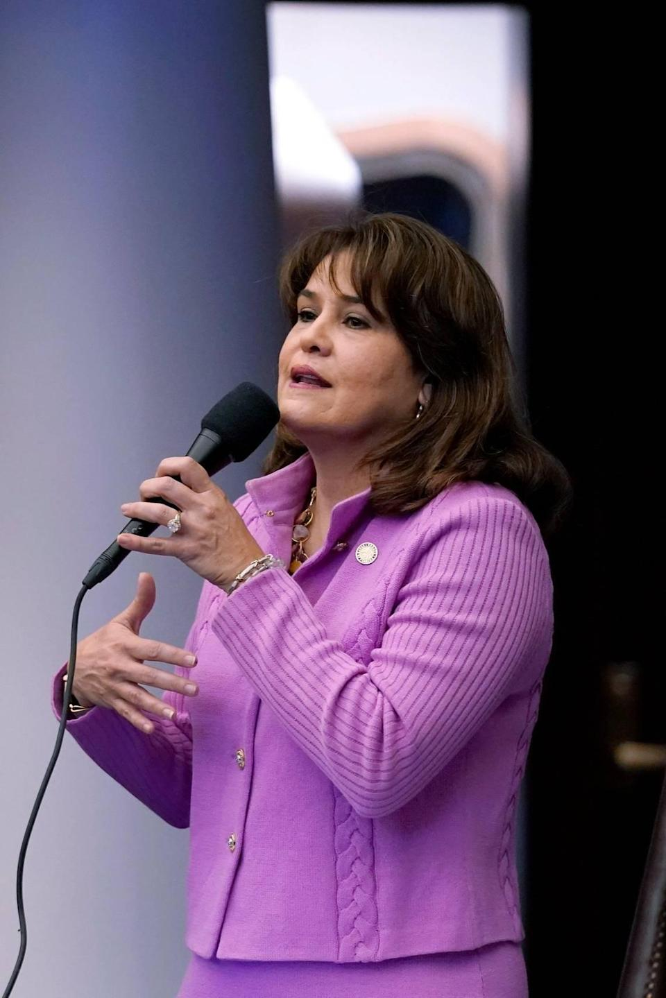 Florida Sen. Annette Taddeo speaks during a legislative session, Friday, April 30, 2021, at the Capitol in Tallahassee, Fla.
