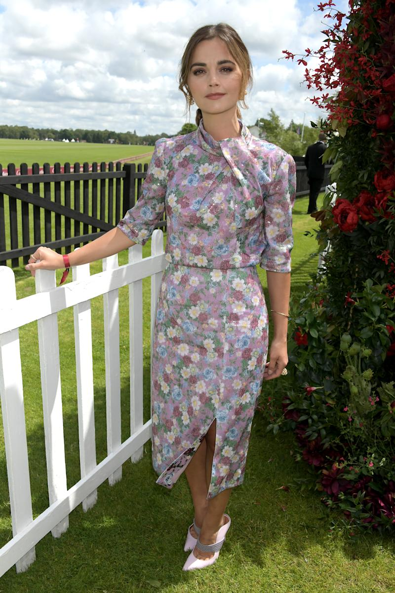 WINDSOR, ENGLAND - JUNE 16: Jenna Coleman attends The Cartier Queen's Cup Polo Final 2019 on June 16, 2019 in Windsor, England. (Photo by David M. Benett/Dave Benett/Getty Images )