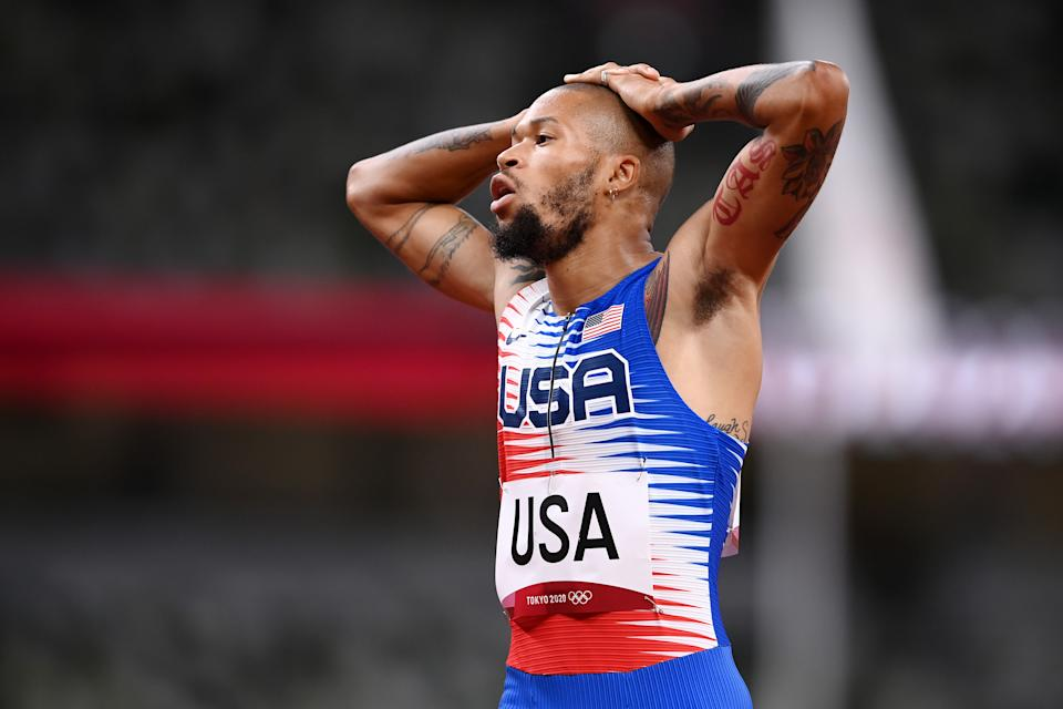 TOKYO, JAPAN - JULY 31: Trevor Stewart of Team United States reacts during the 4 x 400m Mixed Relay Final on day eight of the Tokyo 2020 Olympic Games at Olympic Stadium on July 31, 2021 in Tokyo, Japan. (Photo by Matthias Hangst/Getty Images)