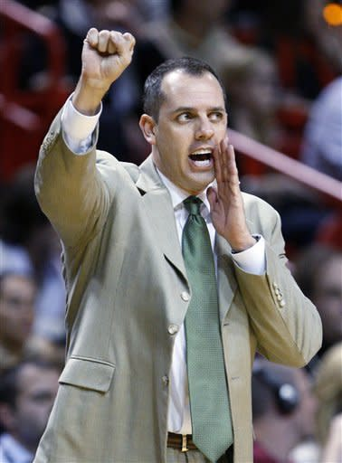 Indiana Pacers head coach Frank Vogel gestures during the first half of an NBA basketball game against the Miami Heat, Wednesday, Jan. 4, 2012, in Miami. (AP Photo/Wilfredo Lee)