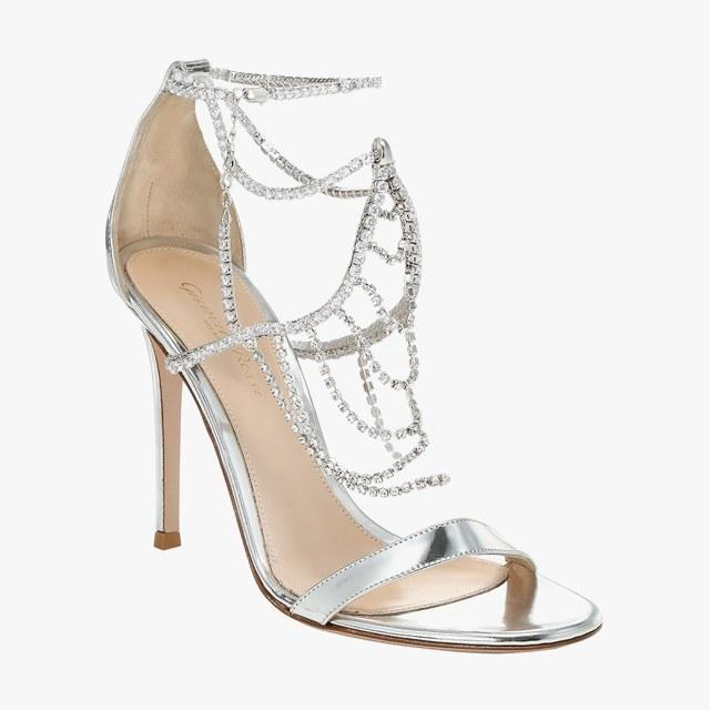 Gianvito Rossi metallic silver crystal ankle sandals, $1,695, saks.com
