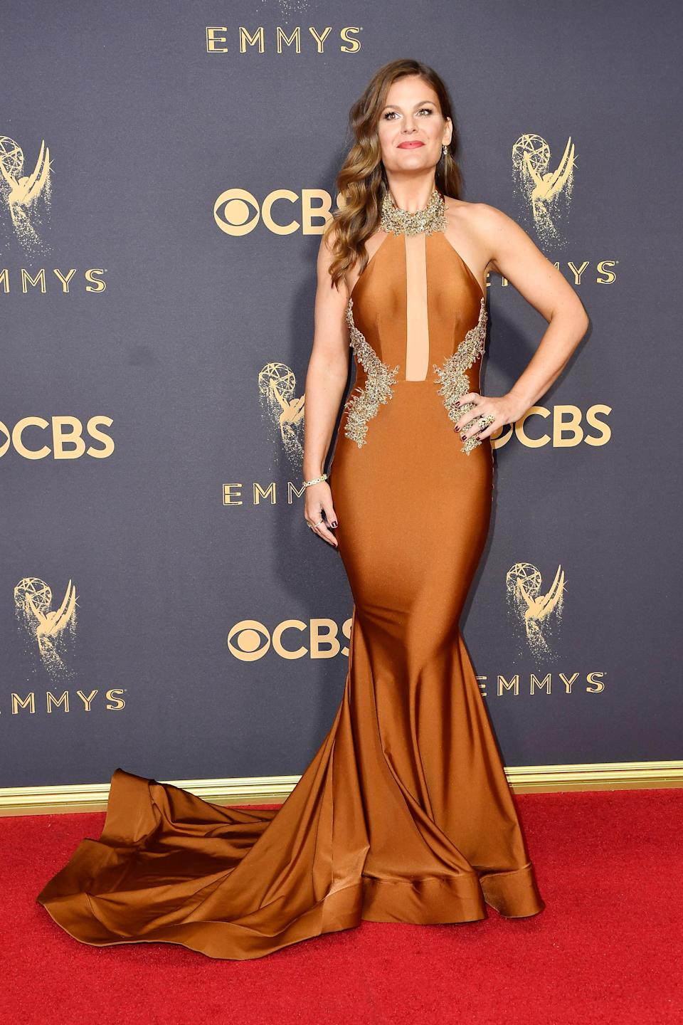 <p>Kristin dos Santos attends the 69th Primetime Emmy Awards at the Microsoft Theater on Sept. 17, 2017, in Los Angeles. (Photo: Getty Images) </p>