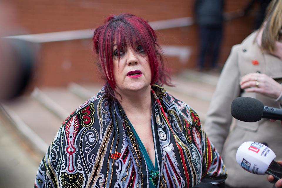 Christine Burke, daughter to Hillsborough victim Henry Thomas Burke, gives a statement to the press outside Preston Crown Court after the jury in the trial of Hillsborough match commander David Duckenfield was unable to reach a verdict. (Photo by Aaron Chown/PA Images via Getty Images)