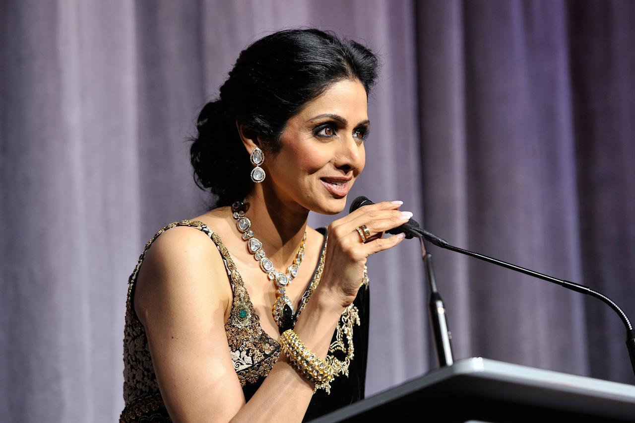 "TORONTO, ON - SEPTEMBER 14:  Actress Sridevi Kapoor attends the ""English Vinglish"" premiere during the 2012 Toronto International Film Festival at Roy Thomson Hall on September 14, 2012 in Toronto, Canada.  (Photo by Jag Gundu/Getty Images)"