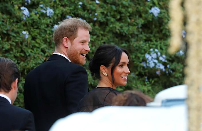 The Duke and Duchess of Sussex arrive for the wedding of fashion designer Misha Nonoo at Villa Aurelia in Rome, Italy, on Sept. 20. (Photo: Remo Casilli / Reuters)