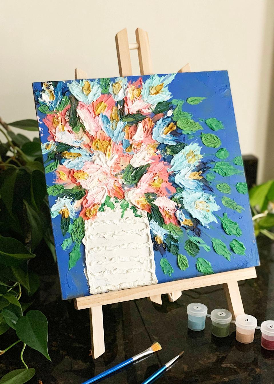 """<br><br><strong>CatePaperCo</strong> Modern floral abstract paint by number kit, $, available at <a href=""""https://www.etsy.com/listing/773923788/modern-floral-abstract-paint-by-number"""" rel=""""nofollow noopener"""" target=""""_blank"""" data-ylk=""""slk:Etsy"""" class=""""link rapid-noclick-resp"""">Etsy</a>"""