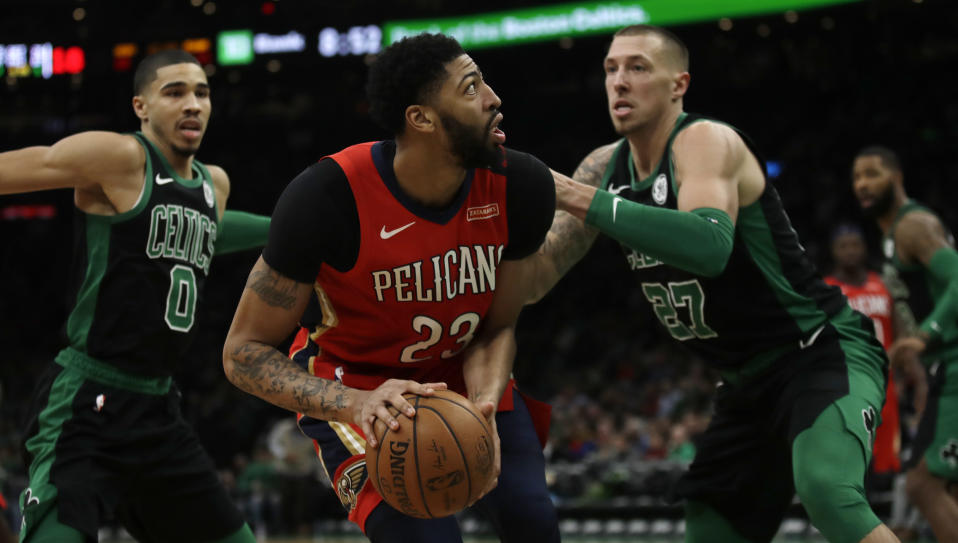 New Orleans Pelicans forward Anthony Davis, center, during the second quarter of a basketball game in Boston, Monday, Dec. 10, 2018. The Celtics defeated the Pelicans 113-100. (AP Photo/Charles Krupa)