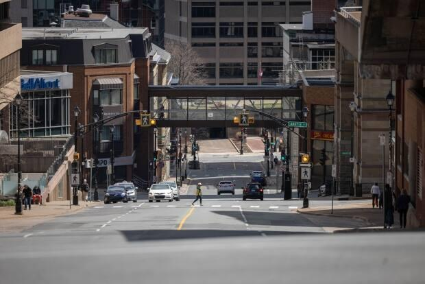 The nearly empty streets of Halifax as lockdown measures took hold in late April were reflected in the high loss of jobs in May.  (Robert Short/CBC - image credit)