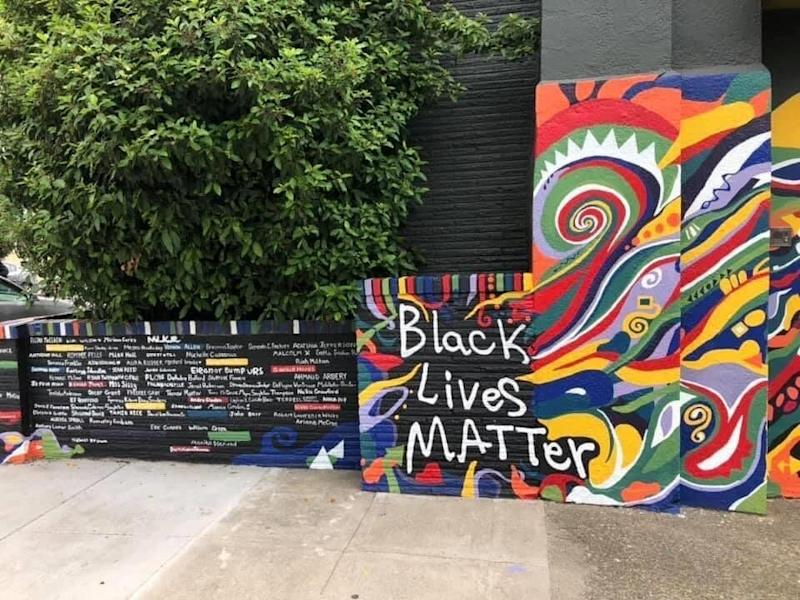 "The mural includes the names of Martin Luther King Jr., <a href=""https://www.huffpost.com/entry/story-emmett-till-murder-under-threat_n_5ddda083e4b0913e6f756a46"" target=""_blank"" rel=""noopener noreferrer"">Emmett Till</a> and <a href=""https://www.huffpost.com/topic/breonna-taylor"" target=""_blank"" rel=""noopener noreferrer"">Breonna Taylor.</a> Colored bricks are reserved for the names of people from Portland. (Photo: Image courtesy of Michelle Jones)"