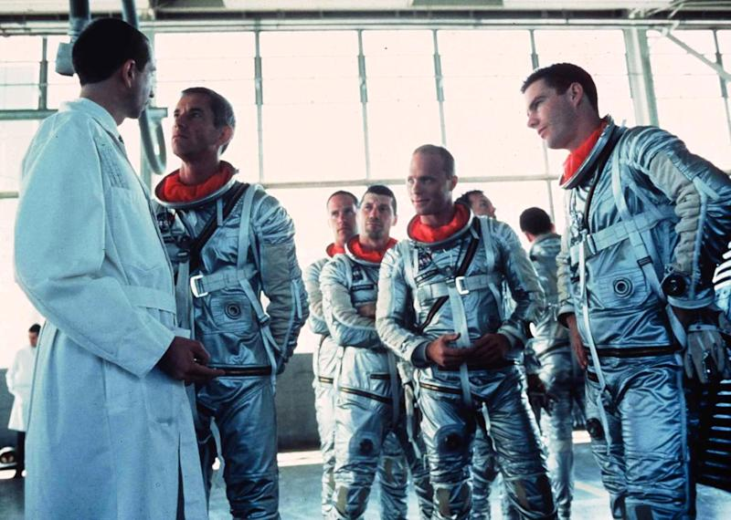 This undated handout image provided by the Library of Congress shows a scene from the movie The Right Stuff. In this scene, Scott Glenn as Alan Shepherd, confronts a NASA scientist about changes to the Mercury capsule while the other astronauts as from center left, Charles Frank as Scott Carpenter, Fred Ward as Gus Grissom, Ed Harris as John Glenn and Dennis Quaid as Gordon Cooper, provide moral support. The library is inducting 25 films into the National Film Registry to be preserved for their cultural, historical or cinematic significance. (AP Photo/Library of Congress, Courtesy of Warner Bros.)
