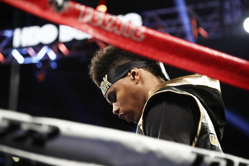 Shakur Stevenson enters the ring before a featherweight boxing match against Carlos Suarez, of Argentina, Saturday, May 20, 2017, in New York. Stevenson stopped Suarez in the first round. (AP Photo/Frank Franklin II)