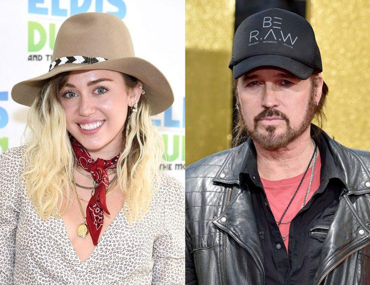 Miley Cyrus and her dad, Billy Ray Cyrus.