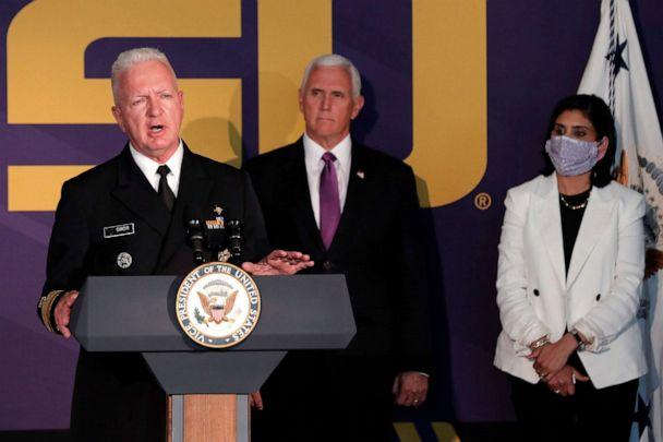 PHOTO: Admiral Brett Giroir, M.D., Asst. Secretary of Health for Department of Health and Human Services, speaks about the coronavirus pandemic at a press conference in Tiger Stadium on the LSU campus, in Baton Rouge, La., July 14, 2020. (Gerald Herbert/AP, FILE)