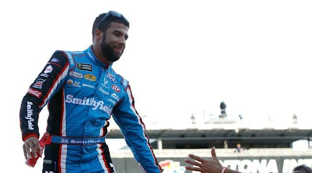 "<a class=""link rapid-noclick-resp"" href=""/nascar/sprint/drivers/3097/"" data-ylk=""slk:Darrell Wallace Jr"">Darrell Wallace Jr</a>. filled in for <a class=""link rapid-noclick-resp"" href=""/nascar/sprint/drivers/1361/"" data-ylk=""slk:Aric Almirola"">Aric Almirola</a> in the No. 43 car for four races in 2017. (Getty)"