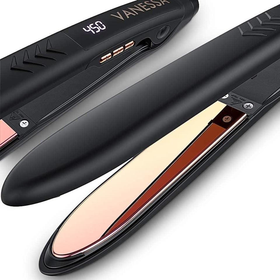 <p>From curls, waves, or sleek straight, style your hair with ease with the titanium-platted <span>VANESSA Flat Iron Hair Straightener and Curler.</span> ($40, originally $52)</p>