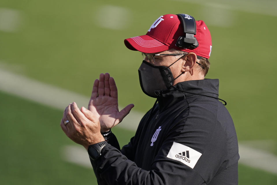 Indiana head coach Tom Allen encourages his team during the first half of an NCCAA college football game against Penn State, Saturday, Oct. 24, 2020, in Bloomington, Ind. (AP Photo/Darron Cummings)