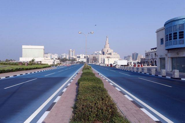 Feeling blue: Qatar road turned azure to cool city