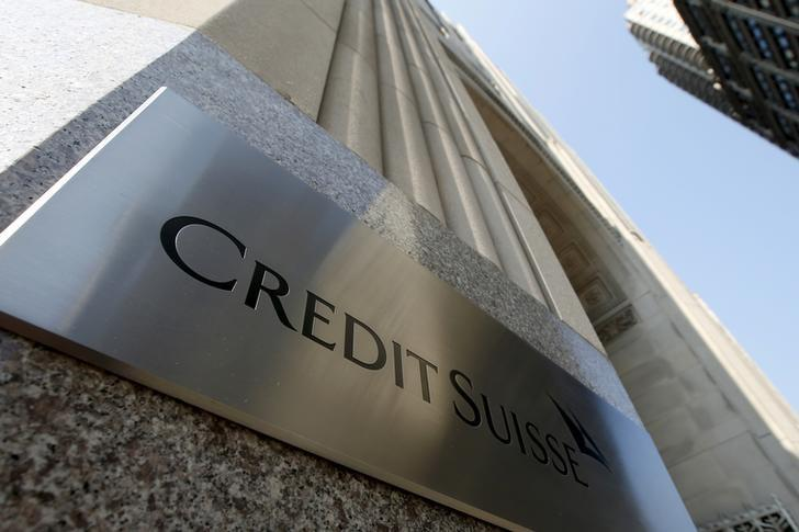 A Credit Suisse sign is seen on the exterior of their Americas headquarters in the Manhattan borough of New York City