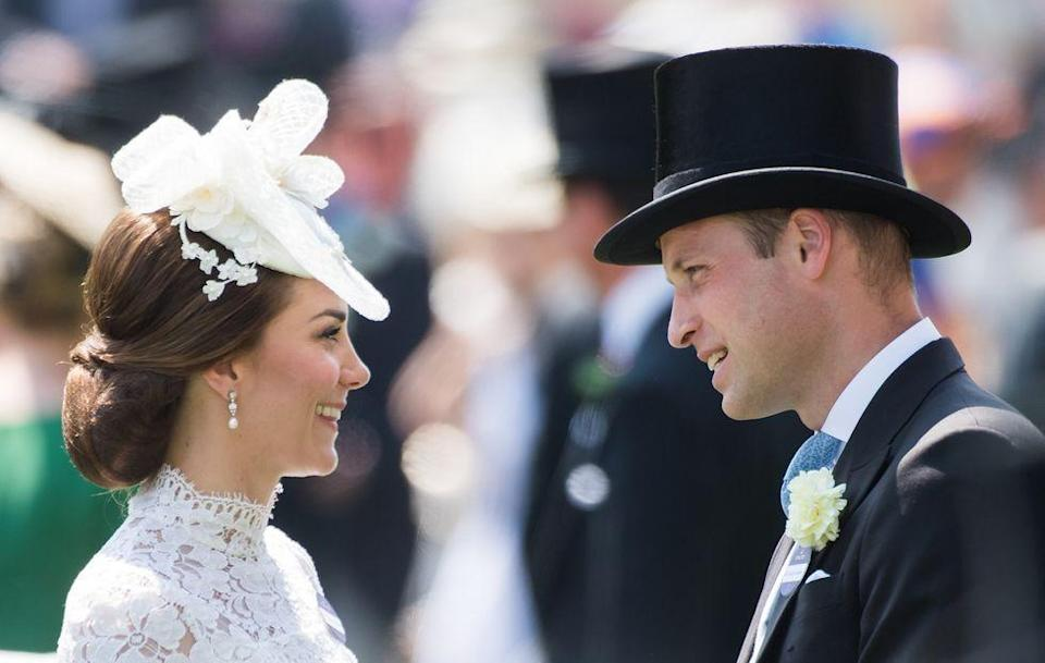 <p>Kate and Will share a laugh (perhaps admiring one another's hats) at Royal Ascot.<br></p>