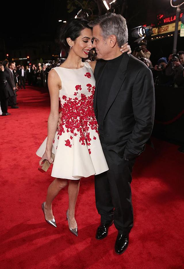 George Clooney and Amal Clooney make gaga eyes at one another at the <em>Hail, Caesar!</em> premiere on Feb. 1, 2016 in L.A. (Photo: Todd Williamson/Getty Images)