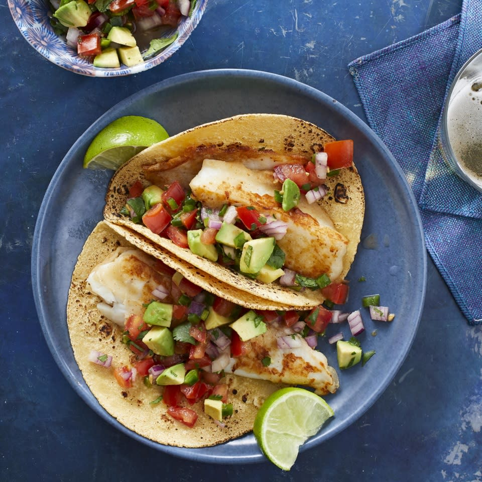 <p>Lovers of fried fish get the taste without all the calories, and the salsa adds a fresh, clean note. To complete the Baja theme, serve with black beans, some diced mango and a bit of light sour cream.</p>