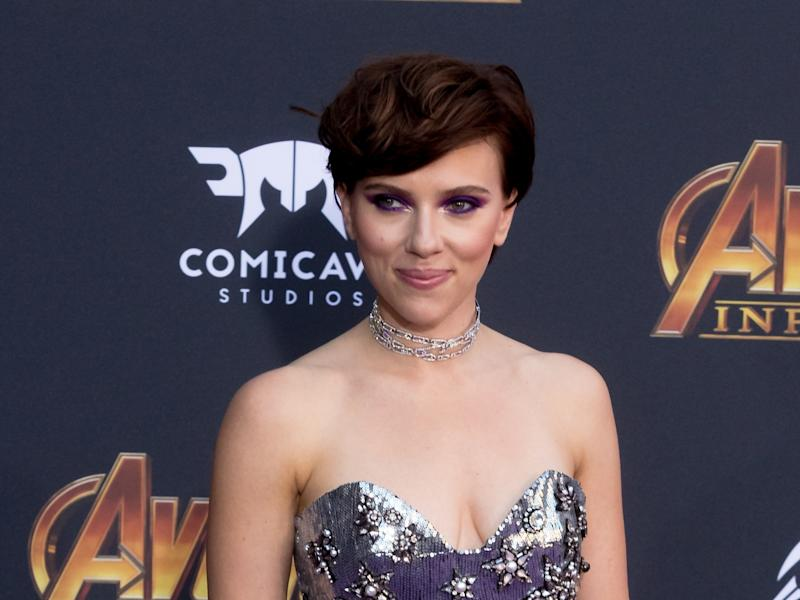 """At the premiere of """"Avengers: Infinity War,"""" we all got a glimpse of Scarlett Johansson's back tattoos, which include black-and-white roses and a black-and-white lamb."""