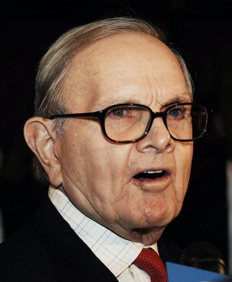 FILE - This March 2, 2006, file photo shows Buffalo Bills owner Ralph Wilson arriving for a meeting with NFL owners and commissioner Paul Tagliabue at the Grand Hyatt Hotel in New York. Bills owner Wilson Jr. has died at the age of 95. NFL.com says team president Russ Brandon announced his death at the league's annual meeting in Orlando, Fla., Tuesday, March 25, 2014. He was one of the original founders of the American Football League and owned the Bills for the last 54 years. (AP Photo/ Louis Lanzano, File)