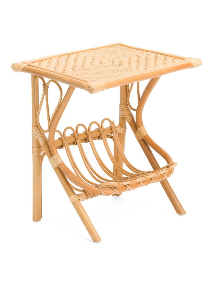 """<p>How handy! The <a href=""""https://www.popsugar.com/buy/Rattan-Bamboo-Accent-Table-473228?p_name=Rattan%20and%20Bamboo%20Accent%20Table&retailer=tjmaxx.tjx.com&pid=473228&price=60&evar1=casa%3Aus&evar9=46427658&evar98=https%3A%2F%2Fwww.popsugar.com%2Fhome%2Fphoto-gallery%2F46427658%2Fimage%2F46428010%2FRattan-Bamboo-Accent-Table&list1=furniture%2Ctjmaxx&prop13=mobile&pdata=1"""" rel=""""nofollow"""" data-shoppable-link=""""1"""" target=""""_blank"""" class=""""ga-track"""" data-ga-category=""""Related"""" data-ga-label=""""https://tjmaxx.tjx.com/store/jump/product/home-home-accent-furniture/Rattan-And-Bamboo-Accent-Table/1000521387?colorId=NS1003534&amp;pos=2:80&amp;N=21182536+0"""" data-ga-action=""""In-Line Links"""">Rattan and Bamboo Accent Table </a> ($60) comes with a magazine rack underneath so that all your favorite reads have a home. </p>"""