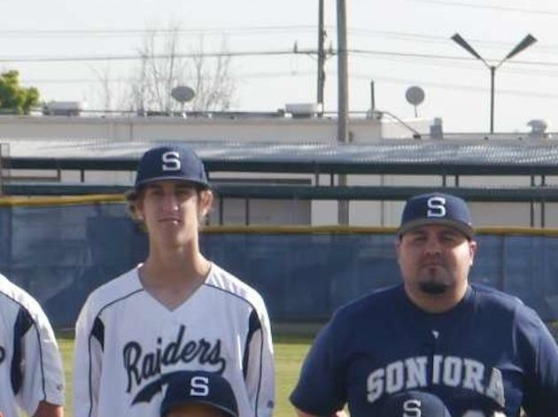 La Habra Sonora junior varsity pitcher Owen Start and coach Nick Rodriguez — SonoraRaidersBaseball.com
