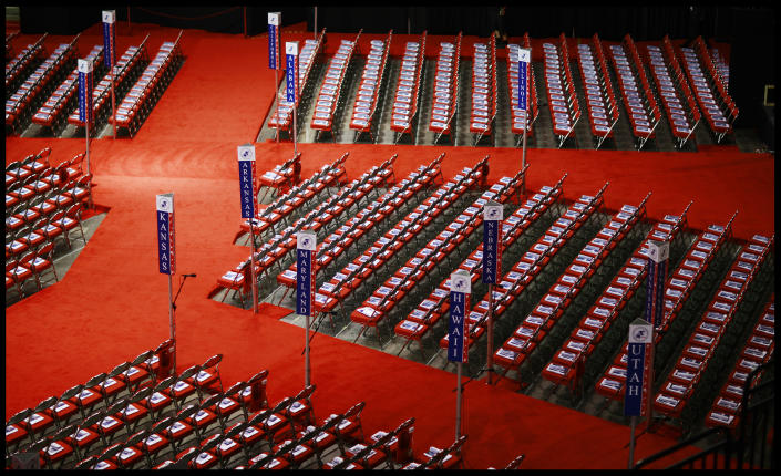 An empty hall at the Republican National Convention in 2008 in St. Paul, Minn. (David Howells/Corbis via Getty Images)