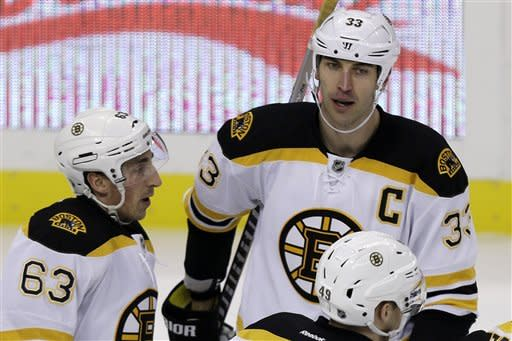 Boston Bruins defenseman Zdeno Chara (33) celebrates his first-period goal with Boston Bruins left wing Brad Marchand (63) during an NHL hockey game in Pittsburgh Tuesday, March 12, 2013. (AP Photo/Gene J. Puskar)