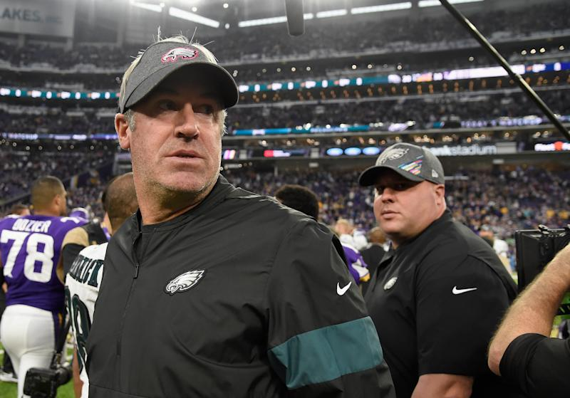 MINNEAPOLIS, MINNESOTA - OCTOBER 13: Head coach Doug Pederson of the Philadelphia Eagles looks on after the game against the Minnesota Vikings at U.S. Bank Stadium on October 13, 2019 in Minneapolis, Minnesota. The Vikings defeated the Eagles 38-20. (Photo by Hannah Foslien/Getty Images)