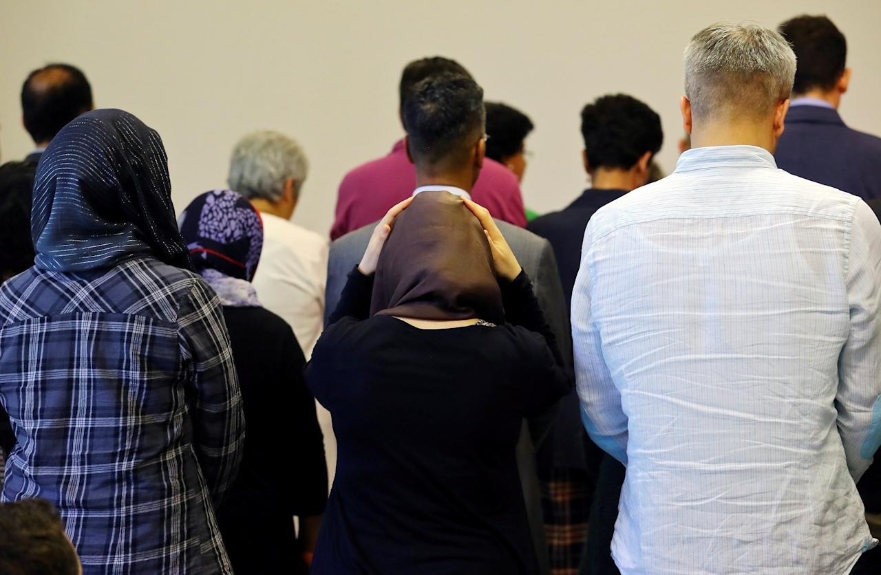 FILE PHOTO: Men and women pray together at the new liberal Ibn-Rushd-Goethe-Mosque in Berlin, Germany, June 16, 2017. REUTERS/Hannibal Hanschke/File Photo