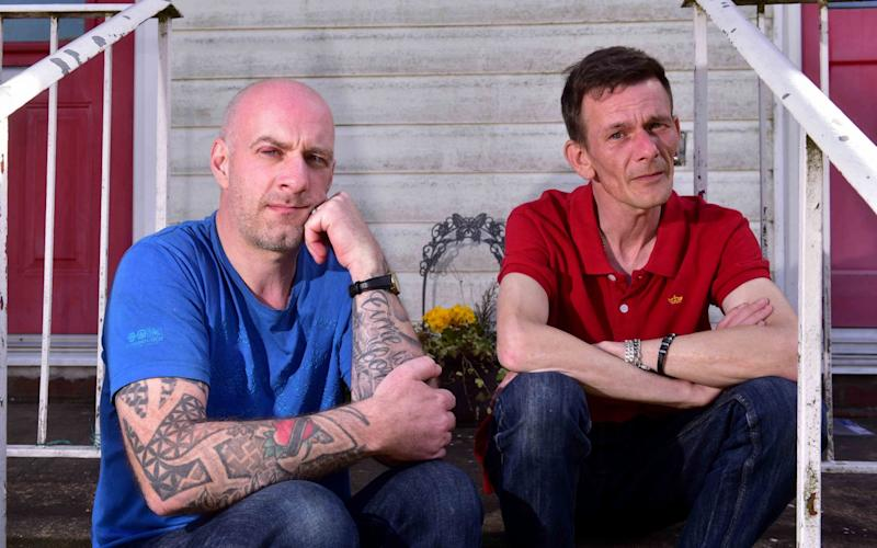 Mark Phillips, left, and his brother in-law, Gareth Deacon-Walker discovered the family puppy drowned after a break-in at the home - Credit: Nick Butcher/Archant