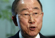 """FILE - In this Dec. 3, 2018, file photo, former U.N. Secretary-General Ban Ki-moon speaks during an interview with The Associated Press in Tokyo. Ban is urging the United Nations and Southeast Asian countries to take swift and """"strong action"""" to stop the deadly crackdown that has followed the military coup in Myanmar. Ban exhorted the U.N. Security Council Monday, April 19, 2021, to act immediately to halt the violence and protect civilians, """"using a range of tools at the council's disposal."""" (AP Photo/Koji Sasaha, File)"""